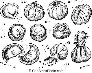 Vector set of dumplings. Vintage sketch illustration.