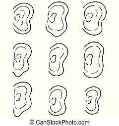 vector set of ear