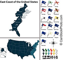 Vector set of East Coast of the United States with flags and map on white background