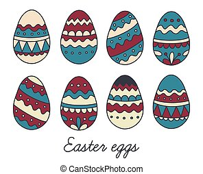 Vector set of Easter eggs in Doodle style