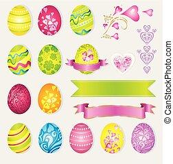 Vector set of easter elements ? eggs, rabbits, ribbons
