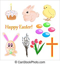 Vector set of easter icons on the white background isolated