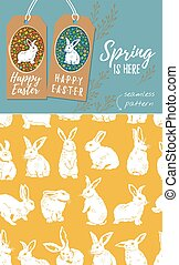 Vector set of Easter tags and Rabbit easter seamless pattern