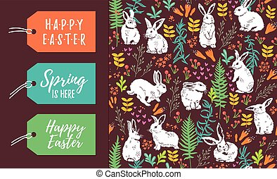 Vector set of Easter tags and seamless pattern