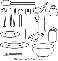 vector set of eating equipment