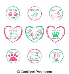 Vector set of ecology icons or stamps for packaging - not tested on animals and cruelty free - icons in trendy linear style.