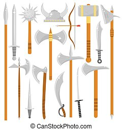 Vector set of edged weapons. Weapon collection swords,...