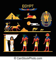 Vector set of Egypt characters with pharaoh, gods, pyramids, camels.
