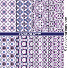 Vector set of eight seamless abstract patterns in ethnic style.
