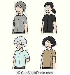 vector set of elder women