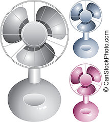 vector set of electric table fans