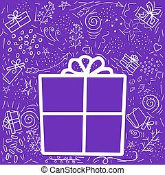 Vector set of elements, gifts. Big gift box in in the center on a violet background for the holidays. Vector doodle illustration with gifts and different elements, twigs, curls.