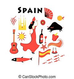 Vector set of elements to the theme of Spain