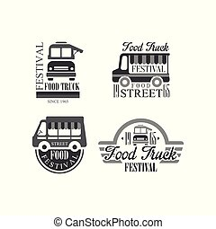 Vector set of emblems and badges for food truck festival. Original monochrome logo templates with vans and lettering. Street fast food