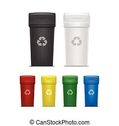 Set of Empty Recycle Bins for Trash and Garbage
