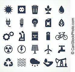 vector set of energy black icon