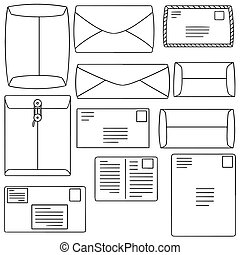 vector set of envelope