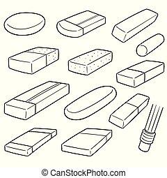 vector set of eraser