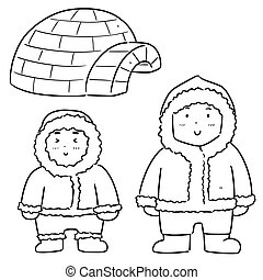vector set of eskimo