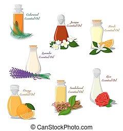 Vector set of Essential Oils - Vector set of bottles filled...