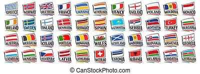 Vector set of European Countries Flags
