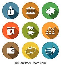 Vector Set of Exchange Icons. Broker, Bank, Piggy, Money,...