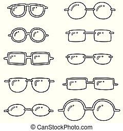 vector set of eyeglasses