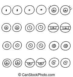 vector set of eyes