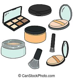 vector set of face powder