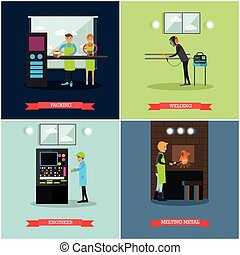 Vector set of factory posters in flat style - Vector set of...