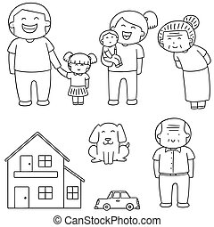 vector set of family, car and house