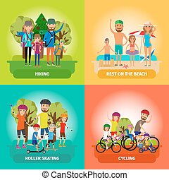 Vector set of family or healthy lifestyle concepts in flat style