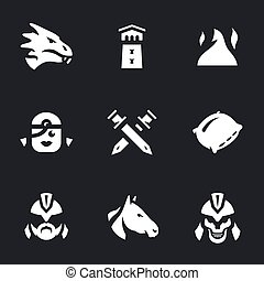 Vector Set of Fantasy love story Icons.