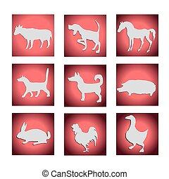 Vector set of farm animals.