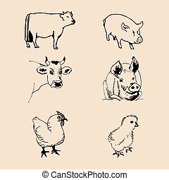 Vector set of farm animals hand sketched illustrations with pig, cow and chicken for meat products logo. Eco food sign.