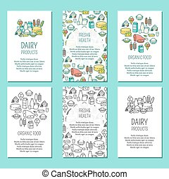 Vector set of farm vertical posters in flat linear style