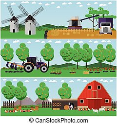 Vector set of farm, wheat field, countryside landscape posters