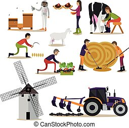 Vector set of farming concept design elements in flat style...