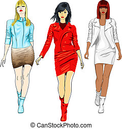 vector set of fashion girls in the leather suits