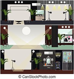 Vector set of fashion interior posters, banners in flat style