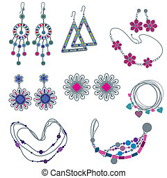"Vector set of fashion jewelry (from my big vector ""Fashion..."