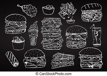 Vector set of fast food. Hand drawn
