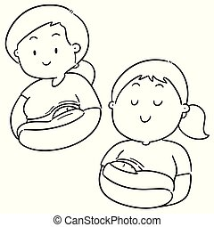 vector set of feeding mother and baby