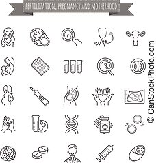 Vector set of fertilization, pregnancy and motherhood icons...