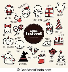 Vector set of festival icons. Doodle.