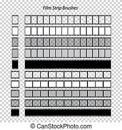 Vector set of film strip brushes on transparent background.