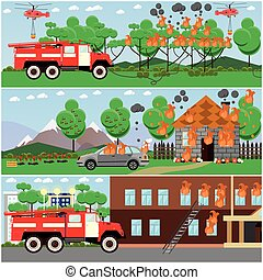 Vector set of fire posters, banners in flat style.