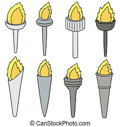 Vector Set Of Fire Torch