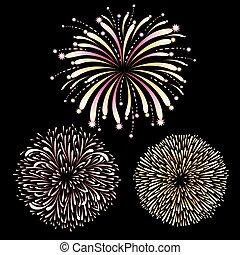 Vector set of fireworks