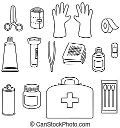 vector set of first aid kit
